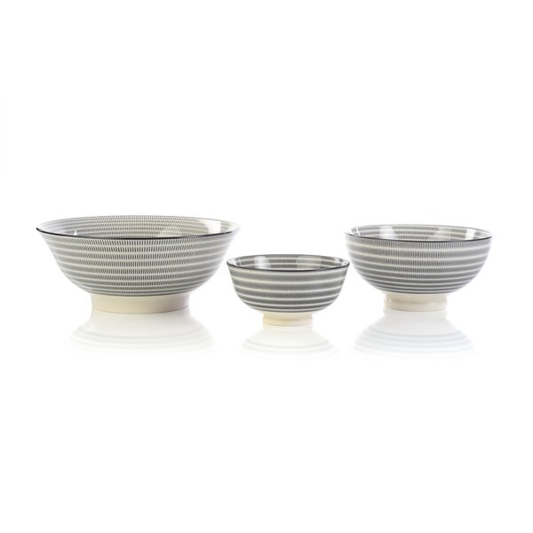 Rosso 3 Piece Circle Dining Bowl Set by Harriet Bee