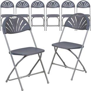Laduke Plastic Fan Back Folding Chair (Set Of 8)