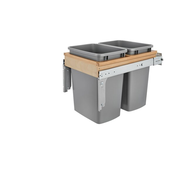Double Top Mount 12.5 Gallon Pull Out/Under Counter Pull Out/Under Counter Trash Can by Rev-A-Shelf