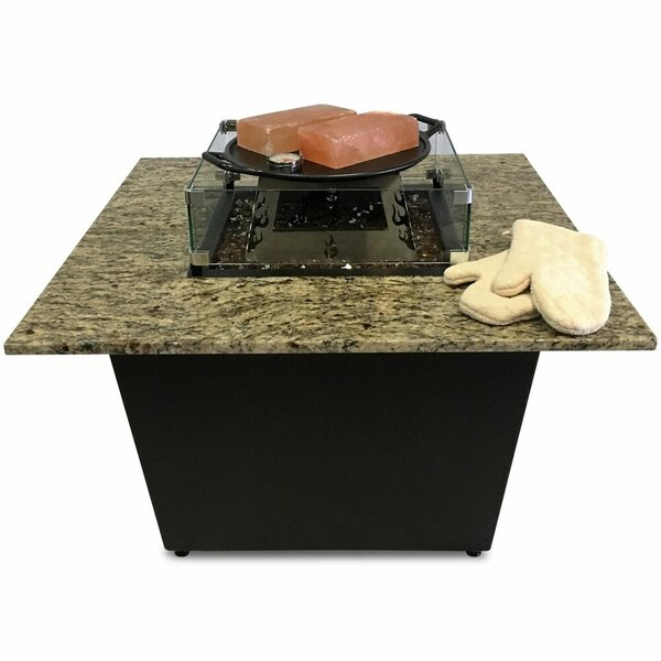 The Venetian Granite Gas Fire Pit Table with Universal Cooking Package by Firetainment