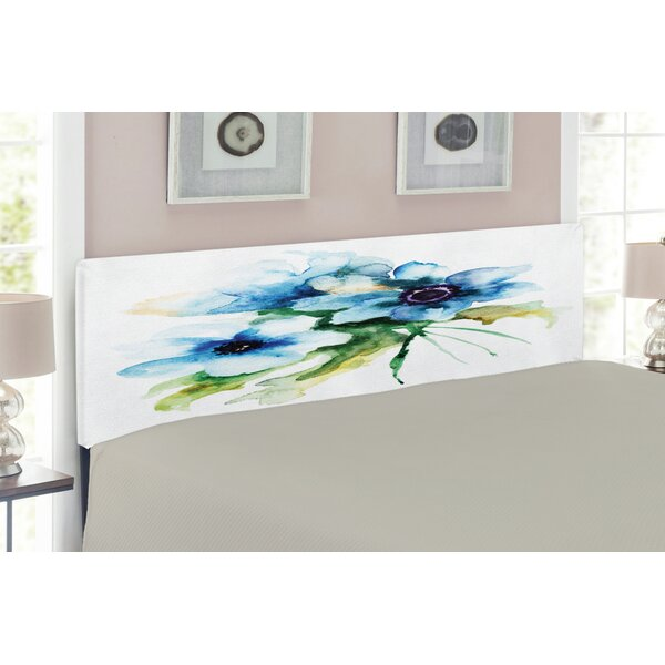 Watercolor Flower Queen Upholstered Panel Headboard by East Urban Home