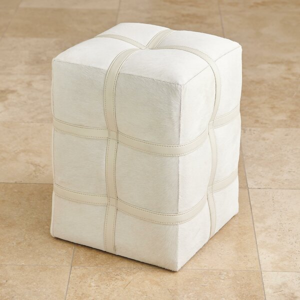 Belted Leather Pouf By Global Views