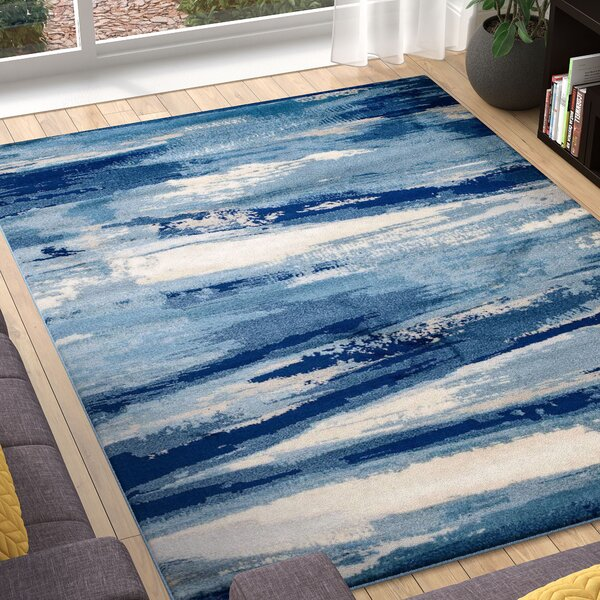 Sawyer Seascape Navy Blue Area Rug by Ebern Designs