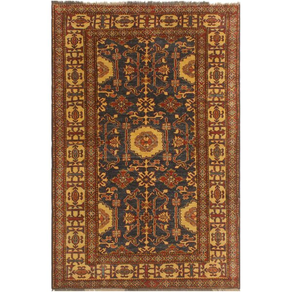 One-of-a-Kind Faxon Super Kazak Hand-Knotted Wool Blue/Ivory Area Rug by Isabelline