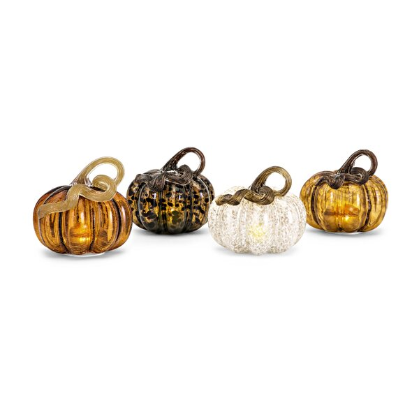 Meyzieu Small Glass LED Pumpkin 4 Piece Sculpture Set by August Grove