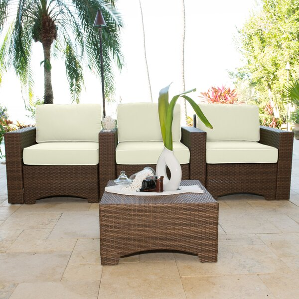 Key Biscayne 4 Piece Theater Seating Set with Cushions by Panama Jack Outdoor