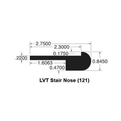 0.52 x 3.38 x 78 Kingston Walnut LVT Stair Nose by Moldings Online