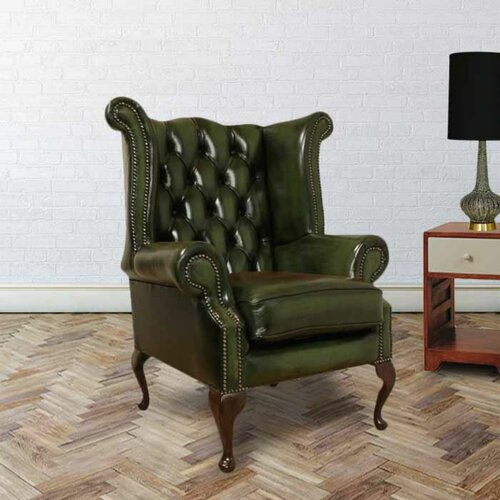 Sachiko Queen Anne Leather Wingback Chair Williston Forge