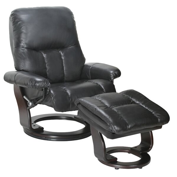 Febe Leather Manual Swivel Recliner with Ottoman Red Barrel Studio W001128383