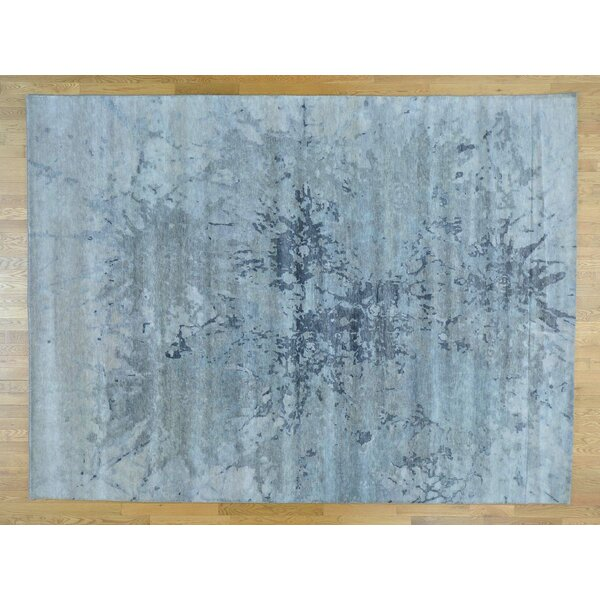 One-of-a-Kind Boyers Splash Design Handwoven Grey Wool Area Rug by Isabelline