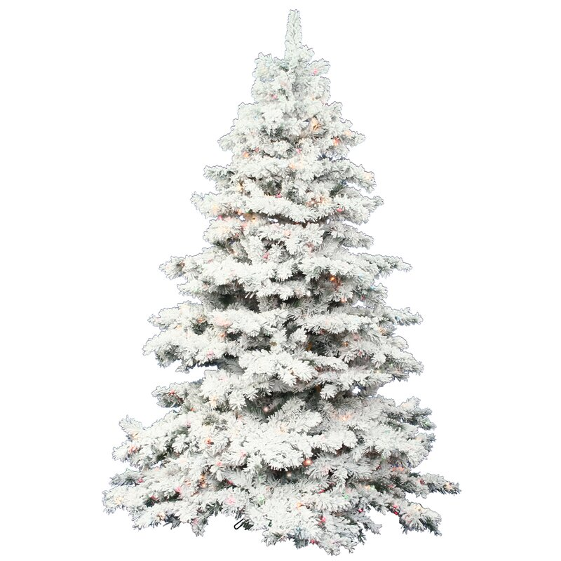 flocked alaskan 75 white artificial christmas tree with 900 dura lit clear lights with - Christmas Trees Artificial