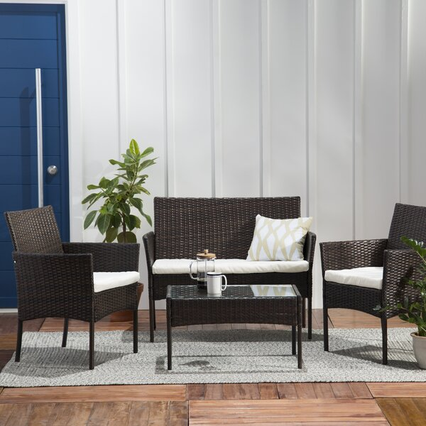 Ohlone 4 Piece Rattan Sofa Seating Group with Cushions by Breakwater Bay