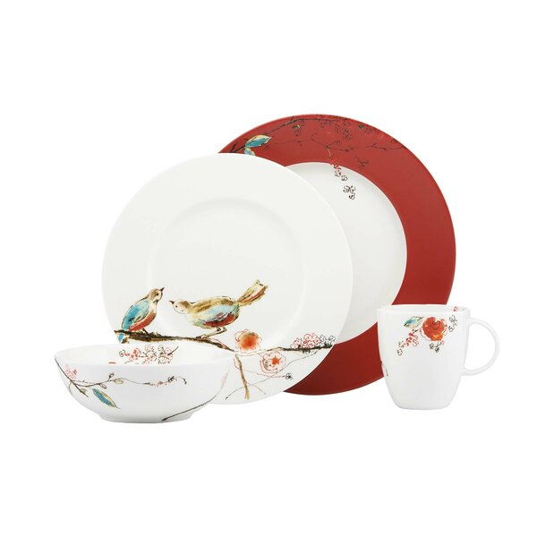 Simply Fine Chirp Scarlet Bone China 4 Piece Place Setting, Service for 1 by Lenox