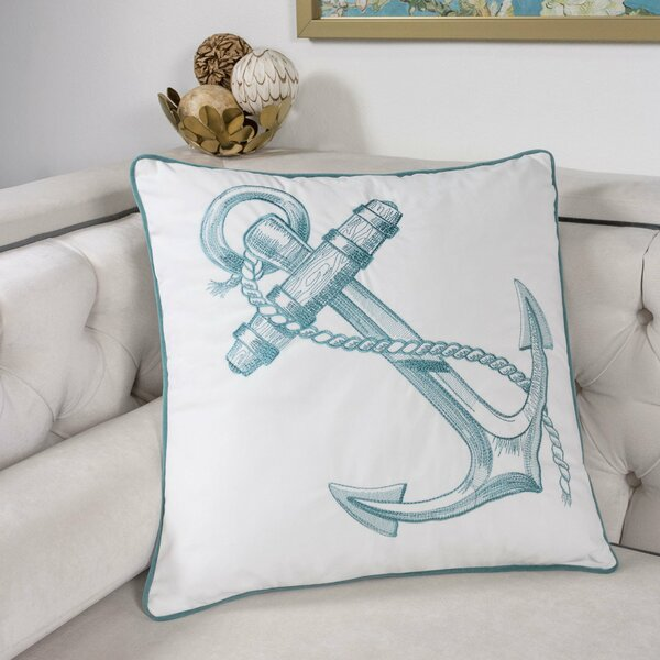 Canas Embroidery Anchor Indoor/Outdoor Throw Pillow by Longshore Tides