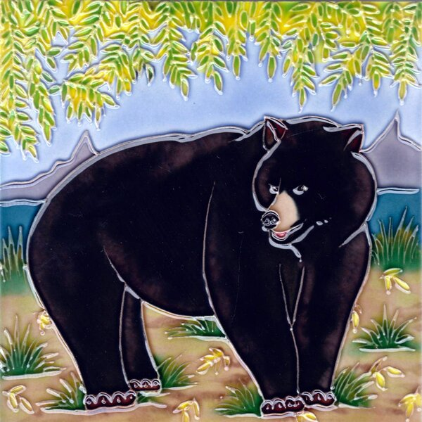 Black Bear with Tree Tile Wall Decor by Continental Art Center