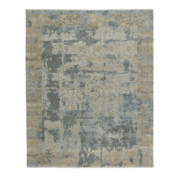 Leonia Hand-Knotted Wool Tan/Blue Area Rug by 17 Stories