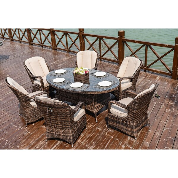 Sussex 7 Piece  Dining Set with Cushions Bayou Breeze W003083680