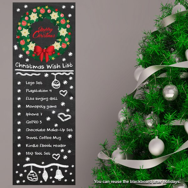 Garland Wish List Chalkboard Wall Decal by The Holiday Aisle
