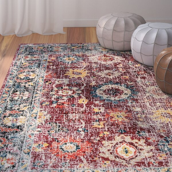 Gina Red/Gray/Blue Area Rug by Bungalow Rose