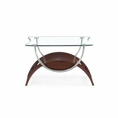 Global Furniture Chrome/mahogany-finish Wood/tempered Glass End Table Decor+