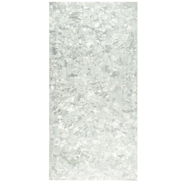 Nautila 11.75 x 23.75 Glass Field Tile in Silver/White by EliteTile