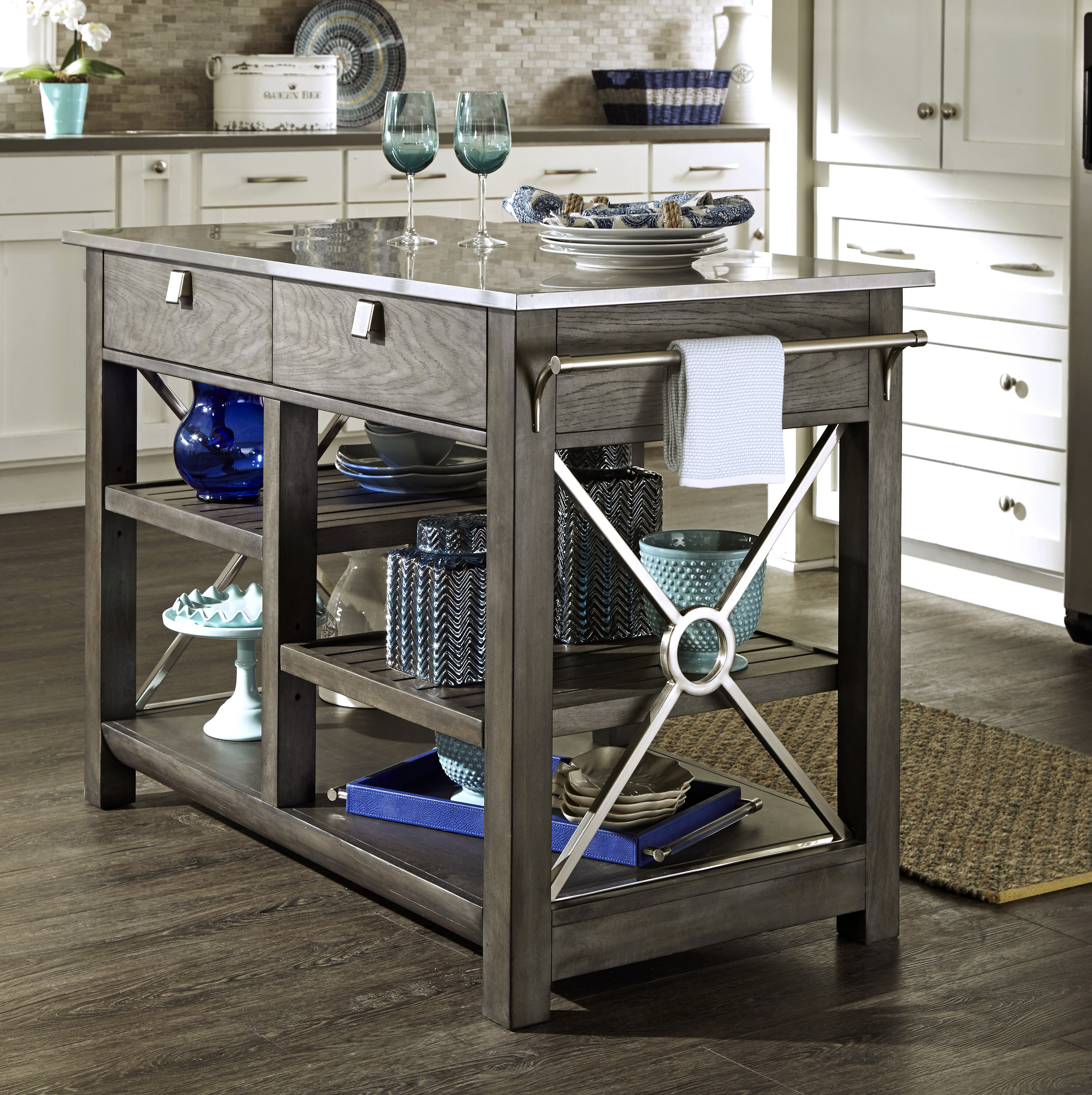 Trisha Yearwood Home Collection Music City Here Comes Temptation Kitchen Island With Stainless Steel Top Reviews Wayfair