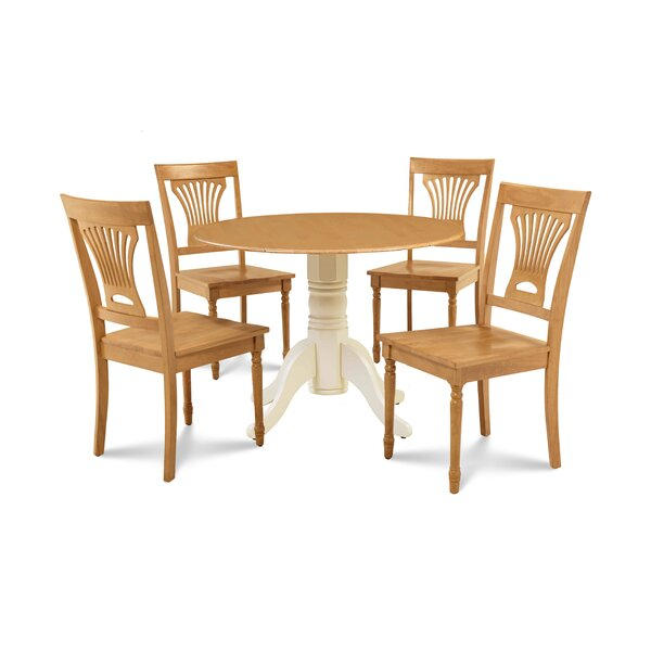 Derek 5 Piece Drop Leaf Solid Wood Dining Set by Millwood Pines