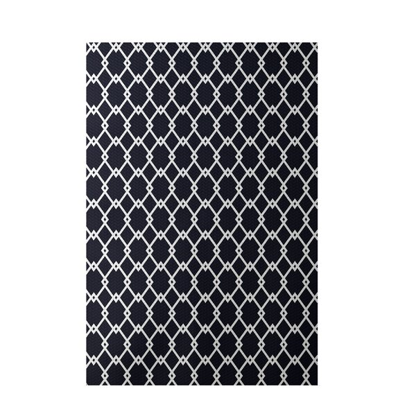 Geometric Hand-Woven Navy Blue Indoor/Outdoor Area Rug by e by design