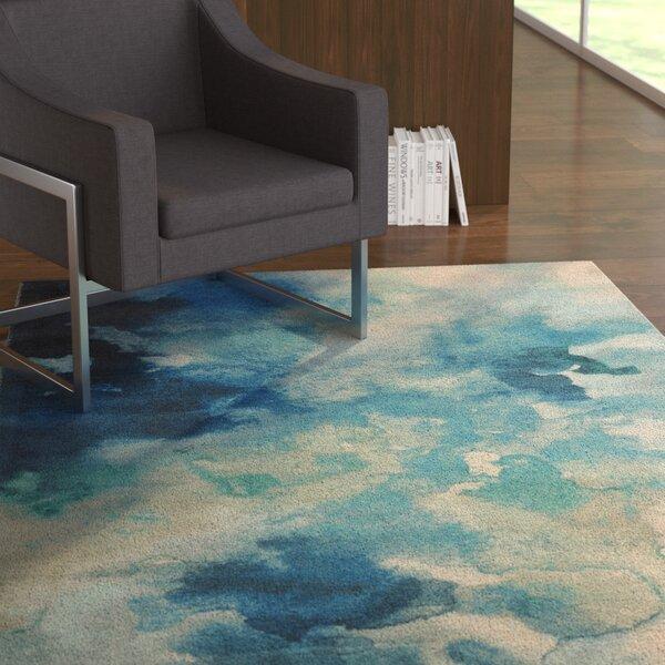 Mariam Luminous Watercolor Blue Area Rug by Ebern Designs