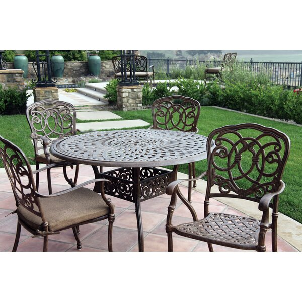 Dolby 5 Piece Metal Frame Dining Set with Cushions by Astoria Grand