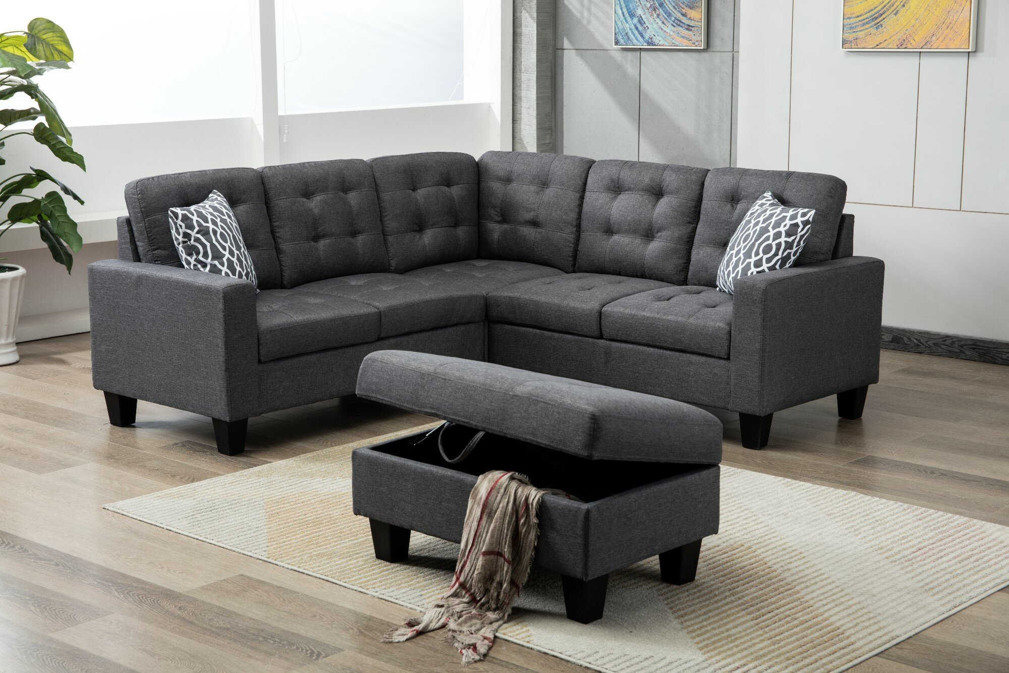 Butcher Symmetrical Sectional Sofa With Ottoman
