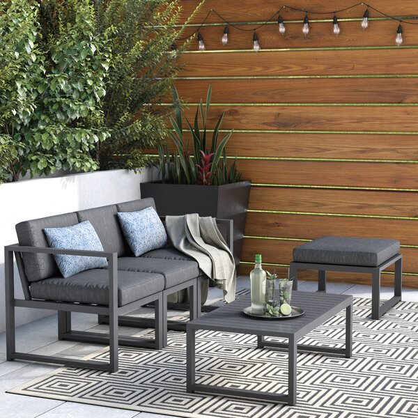 Mirando 5 Piece Sectional Seating Group with Cushions Mercury Row W001650514