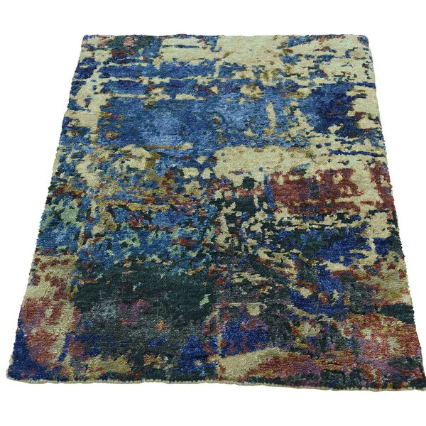 One-of-a-Kind Hi and Lo Abstract Hand-Knotted Blue Area Rug by Williston Forge
