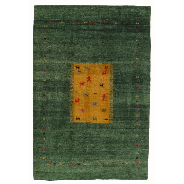 Gabbeh Hand-Knotted Green Area Rug by Pasargad NY