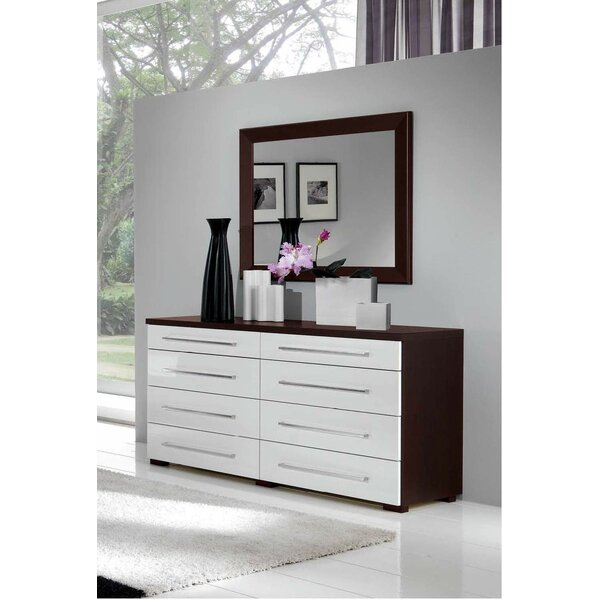 8 Drawer Double Dresser with Mirror by Noci Design