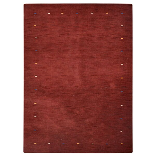 Creager Hand-Knotted Wool Dark Red Area Rug by World Menagerie
