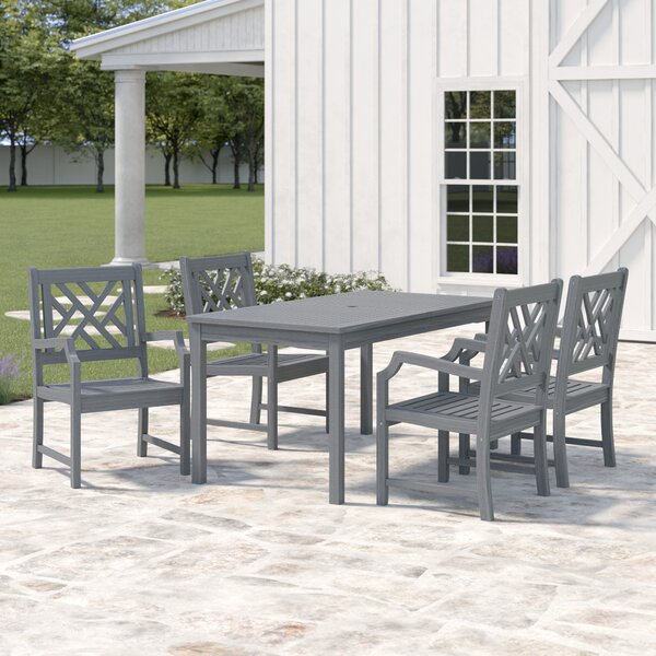 Southport 5 Piece Dining Set with Umbrella by Gracie Oaks