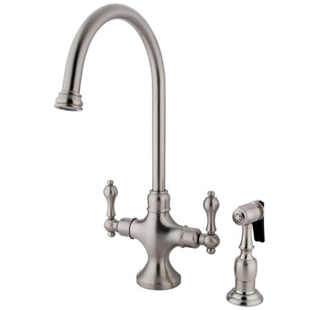 Classic Double Handle Single Hole Kitchen Faucet with Metal Lever Handles and Brass Side Spray by Elements of Design