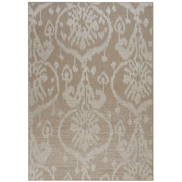 Hanish Tan Sunburst Indoor/Outdoor Area Rug by House of Hampton