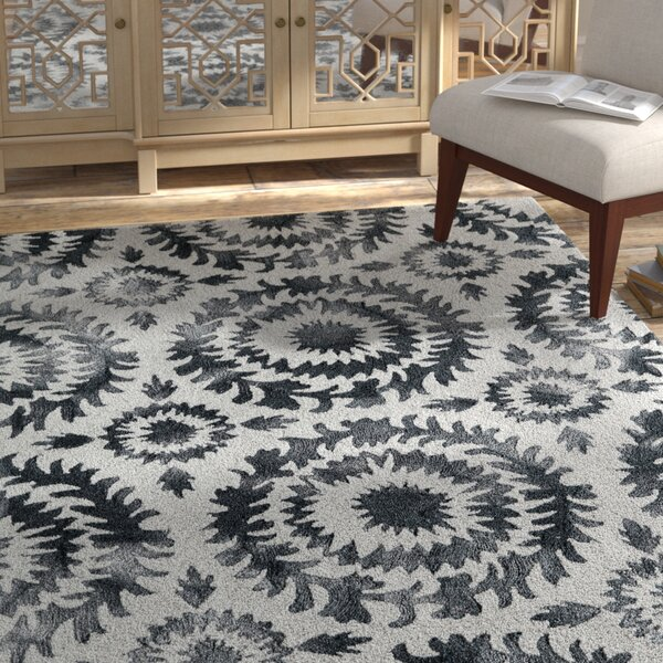 Lucy Hand-Hooked Gray Area Rug by Bungalow Rose