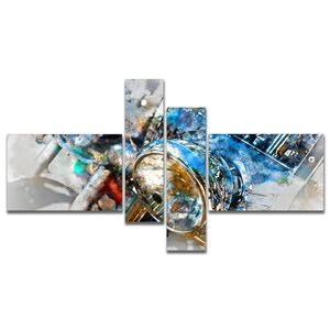 'Motorcycle Headlight Watercolor' Print Multi-Piece Image on Canvas by East Urban Home