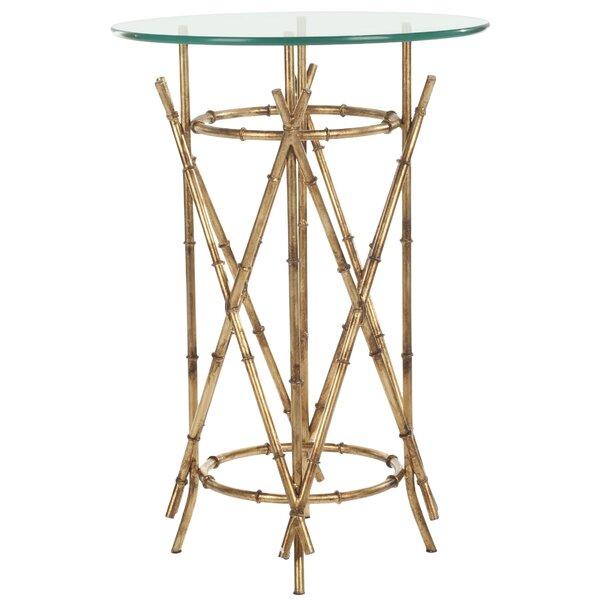 Rex Glass Top Cross Legs End Table By Mercer41