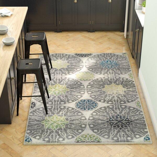 Darcio Rosette Gray Area Rug by Ebern Designs