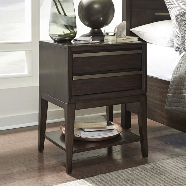 Swinton Wood Open 2 Drawer Nightstand by Ivy Bronx