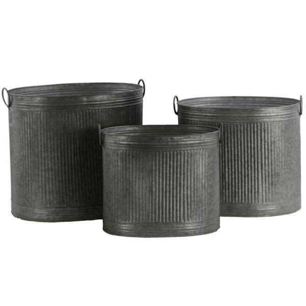 Dukes Round Metal Pot Planter Set (Set of 3) by Williston Forge