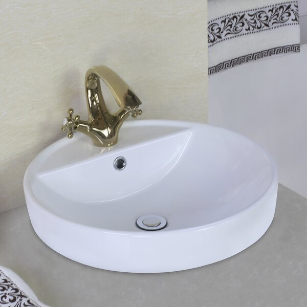 Ceramic Circular Vessel Bathroom Sink with Overflow by American Imaginations