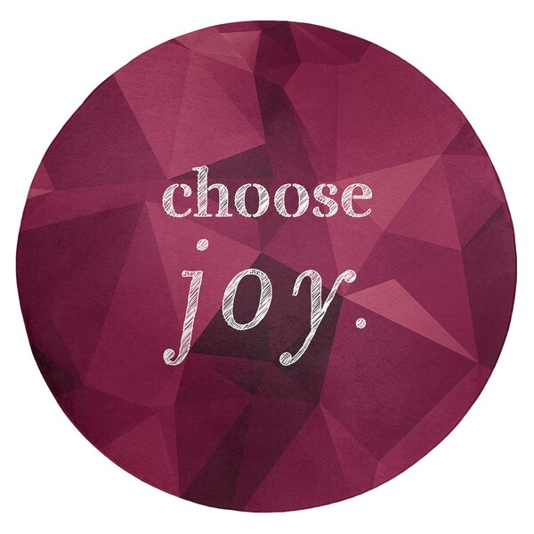 Faux Gemstone Choose Joy Quote Poly Chenille Rug