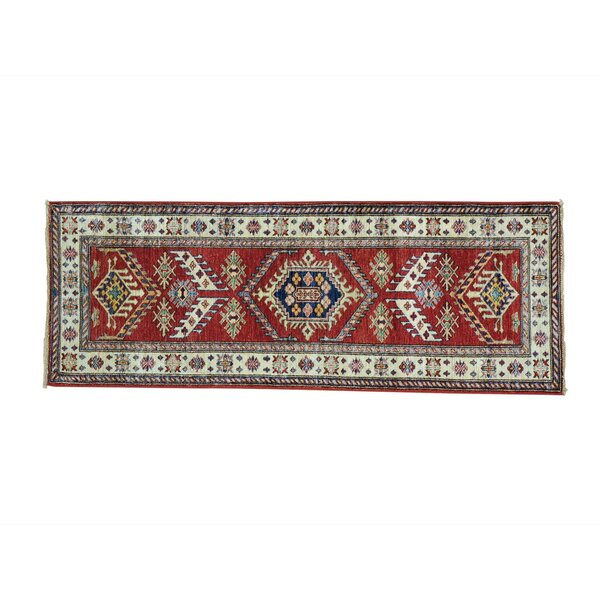 Sanjuana One-of-a-Kind Super Kazak Tribal and Geometric Hand-Knotted Wool Red Area Rug by Darby Home Co