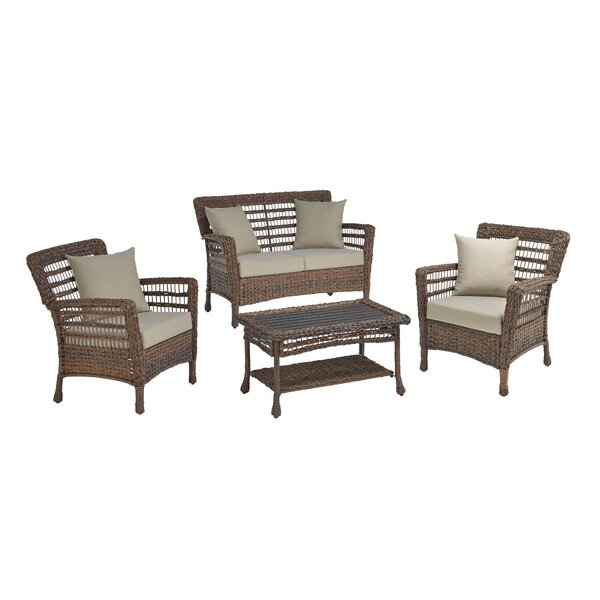 Dugger Faux Sea 4 Piece Rattan Sofa Seating Group with Cushions by Bay Isle Home
