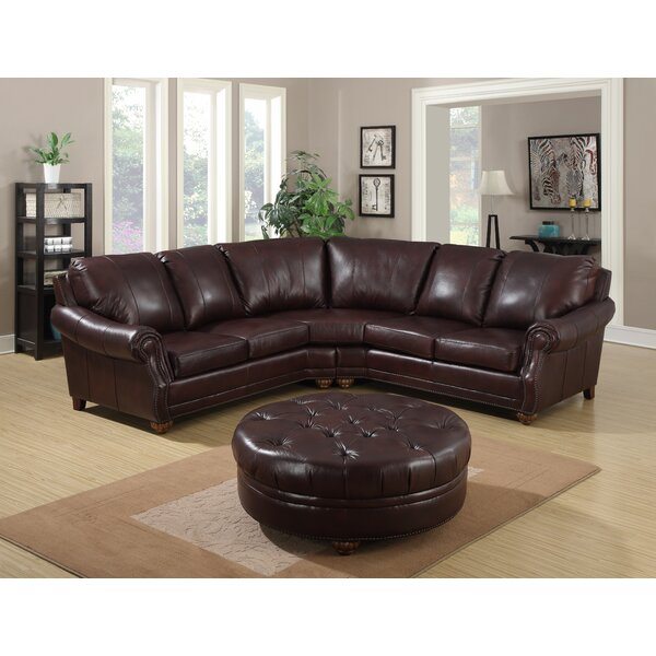 Adira Leather Sectional with Ottoman by Darby Home Co